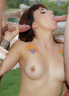 porn photos Tatted girl Veronica Layke does a, ass , blowjob