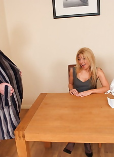 porn photos Clothed businesswomen Scarlett March &, milf , handjob